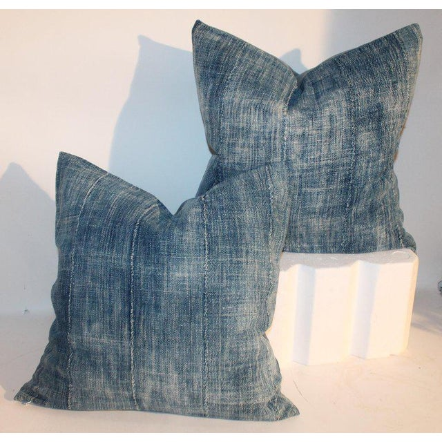 19th Century Blue Homespun Linen Pillows - a Pair For Sale In Los Angeles - Image 6 of 10