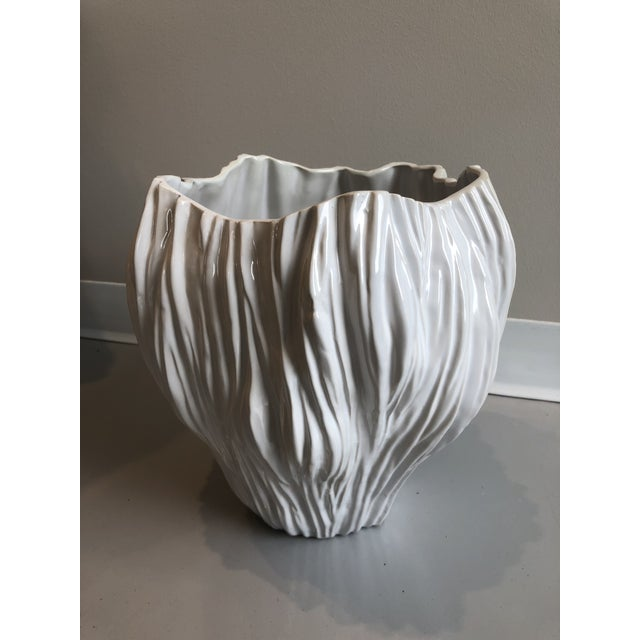 2010s Contemporary Tozai Home Piriform White Ceramic Vase - Large For Sale - Image 5 of 5