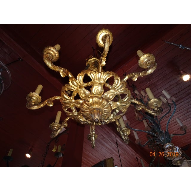 18th Century Venetian Gilt Wood Chandelier For Sale - Image 4 of 13