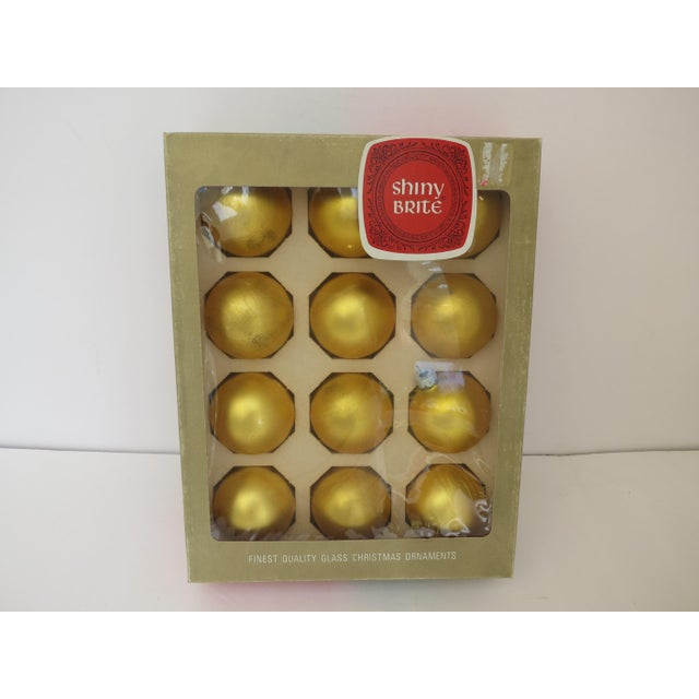 Vintage Shiny Brite Yellow Christmas Ornaments - Set of 12 - Image 4 of 4