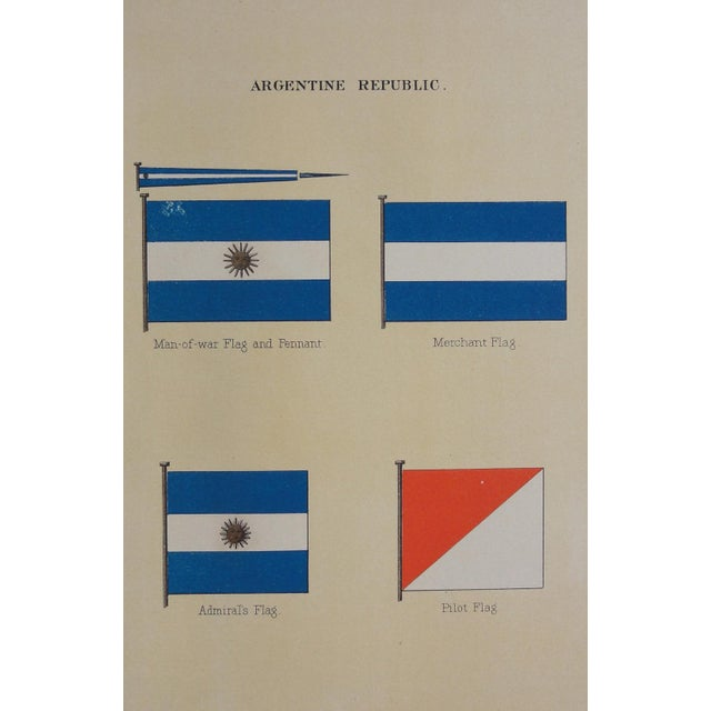1882 Nautical Flags of Argentina Chromolithograph For Sale - Image 5 of 5