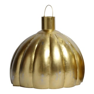 Contemporary Large Gold Pumpkin Shaped Hanging Lamp For Sale