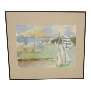 Original Watercolor Seascape With Sailboats For Sale
