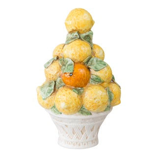 Vintage Italian Majolica Lemons & Oranges Topiary For Sale