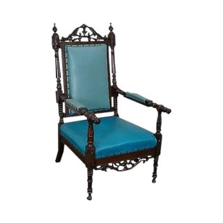 Antique 19th Century American Victorian Renaissance Carved Rosewood Throne Arm Chair For Sale