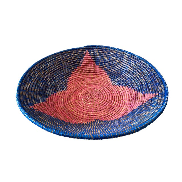 """Pink Lg Handmade Woven Wolof Basket From Senegal 17.25"""" in D For Sale - Image 8 of 8"""