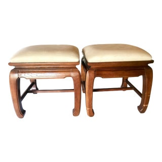 Thomasville Asian Style Stools With Ming Style Legs- a Pair For Sale