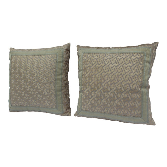"""Silk """"Greek Key"""" Down Pillows in Beige/Taupe With Light Green Embroidered Trim - a Pair For Sale - Image 13 of 13"""