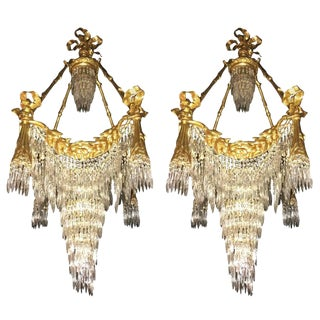 Pair of Bronze Louis XVI Style Crystal Ribbon and Tassle Drapery Chandeliers For Sale