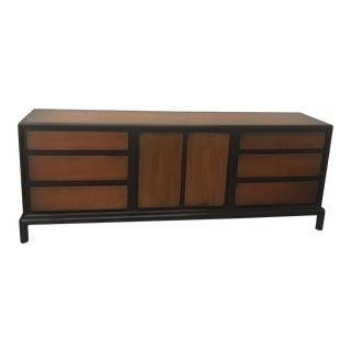 John Stuart Asian Style Black Lacquer & Wood Tone 9 Drawer Dresser For Sale
