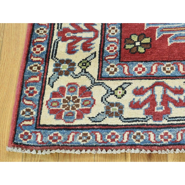 2010s Hand-Knotted Pure Wool Geometric Design Red Kazak Rug- 5′ × 6′3″ For Sale - Image 5 of 12