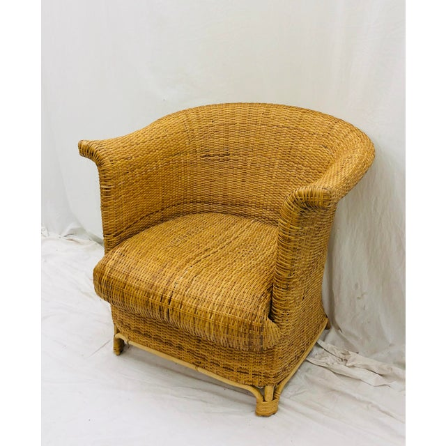Vintage Palm Beach Chic Woven Wicker Arm Chair For Sale - Image 9 of 13