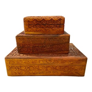 Indian Carved Box Collection, S/3 For Sale