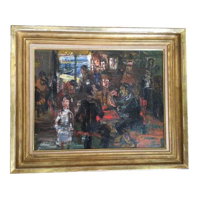 1950s Vintage Paul Maas 'Cafe à Ile J Ebge' Oil on Canvas Painting For Sale