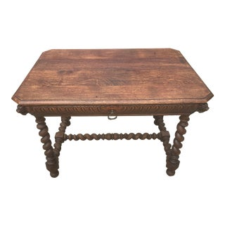 Antique Barley Twist Desk Table With Drawer For Sale