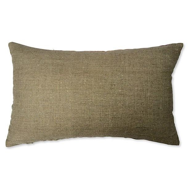 Contemporary 1960s Raw Silk Textile Pillow For Sale - Image 3 of 4