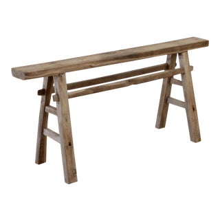 Vintage Chinese Elm Wood Bench For Sale