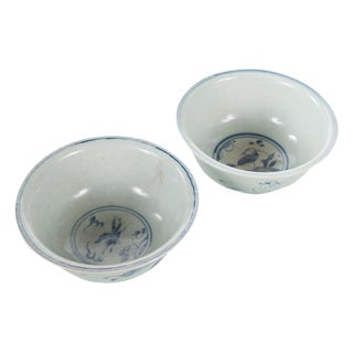 Antique Chinese White & Blue Porcelain Bowls - a Pair For Sale