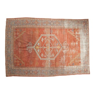1920s Antique Distressed Mahal Rug - 6′5″ × 9′2″ For Sale