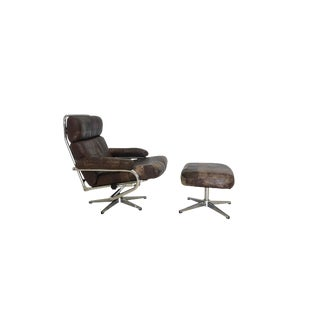 Mid Century Reclining Leather Patchwork Lounge Chair and Ottoman For Sale