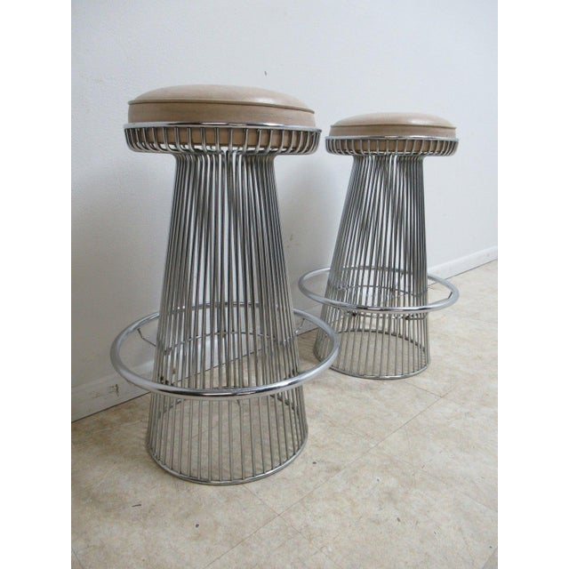 Vintage Chrome Wire Cone Bar Stools - A Pair - Image 2 of 11