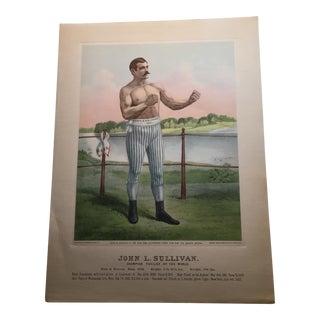 1883 John L. Sullivan Boxing Print For Sale