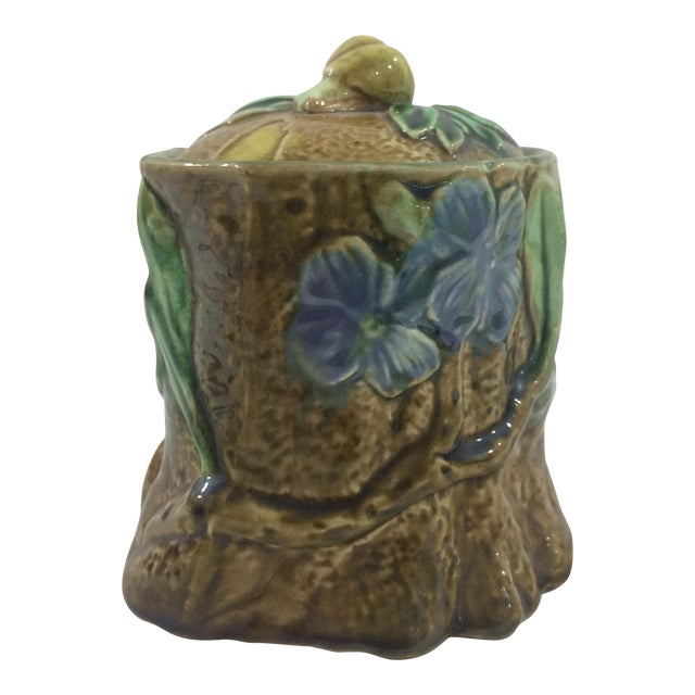 French 19th Century Tobacco Jar With Floral Design and Snail For Sale