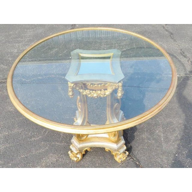 Hollywood Regency Directoire Style Glass Top Center Table For Sale - Image 3 of 5