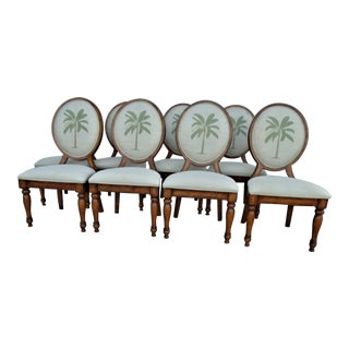 1990s Vintage British Colonial Chairs - Set of 8 For Sale