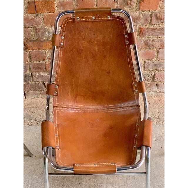 Brown Les Arcs Leather Tan Dining Chairs, 1970s - Set of 4 For Sale - Image 8 of 11