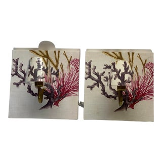 Fabric Shell and Coral Wall Sconces - a Pair For Sale