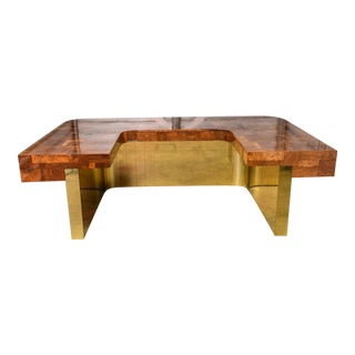 Brass Bottom Directional Cityscape Desk by Paul Evans For Sale