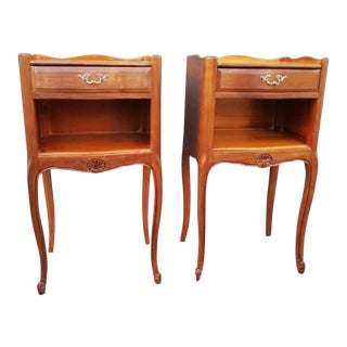 French Louis XV Style Side Tables Nightstands - a Pair For Sale