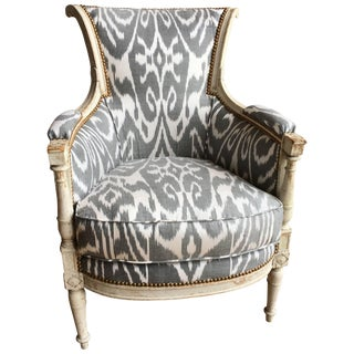 French Directoire Bergere in Ikat Fabric, Circa 1800 For Sale