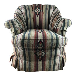 1990s Southwestern Blanket Rancho Club Chair For Sale