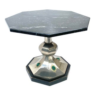 1970's Anthony Redmile Brass Marble & Malachite Table For Sale