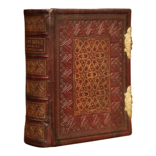 19th Century English Leatherbound and Brass Locks Holy Bible With Illustrations For Sale