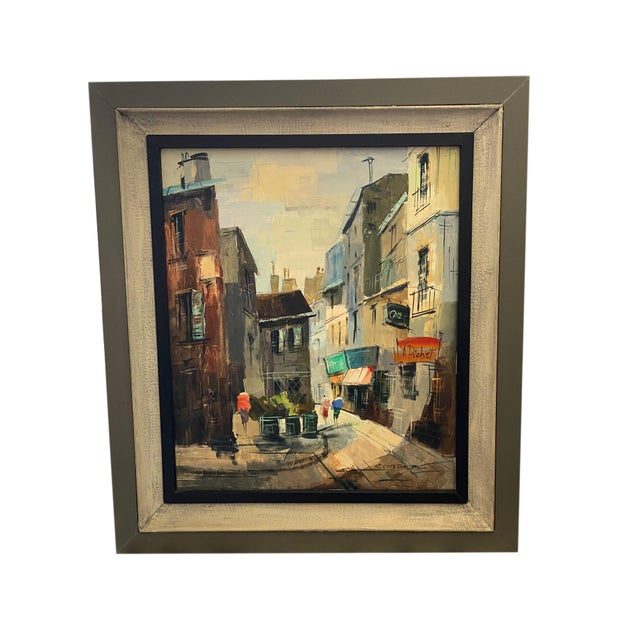 Paint French Impressionist Street Scene Oil Painting For Sale - Image 7 of 7