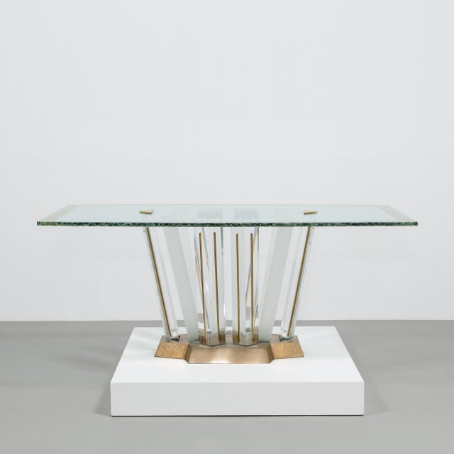 A Superb Lucite and Bronze Dining Table with Unique Glass Top - Image 3 of 11