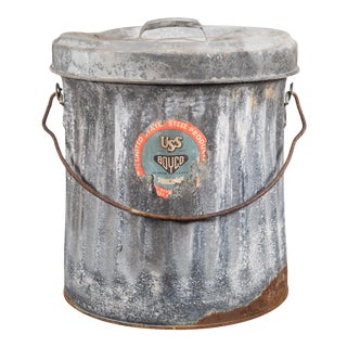 "Vintage Galvanized Steel ""Boyco"" Waste Can C.1940 For Sale"