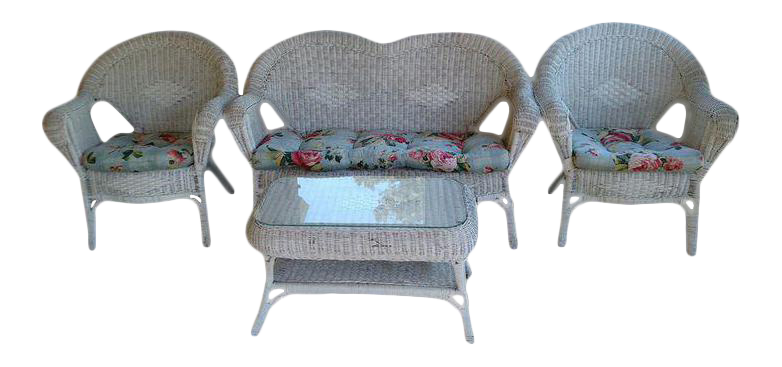 vintage wicker patio furniture. Delighful Vintage 1960s MidCentury Modern Shabby Chic Vintage Wicker Patio Furniture  4  Piece Set With N