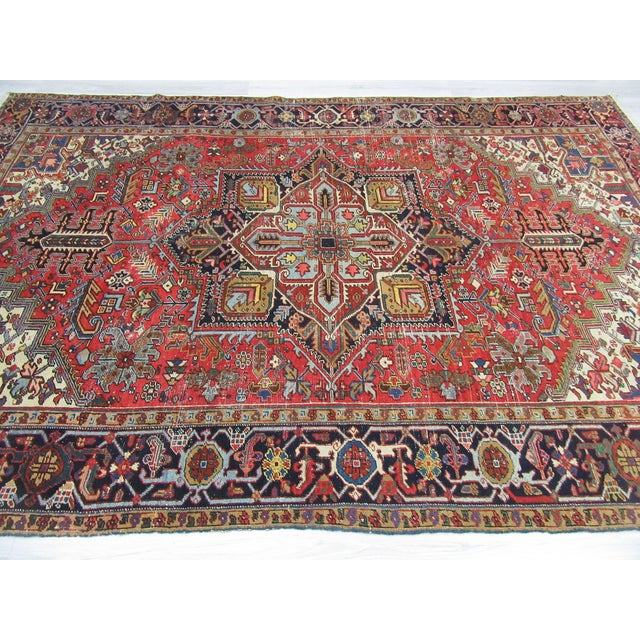 Islamic Large Vintage Persian Hareez Wool Rug - 7′9″ × 11′5″ For Sale - Image 3 of 6