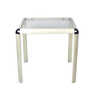 1970s Metal and Glass Side Table For Sale