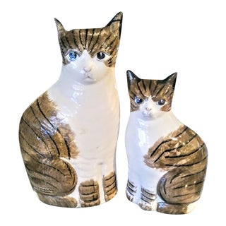 Vintage Smooth Ceramic Whimsical Staffordshire Cat Statues - a Pair For Sale