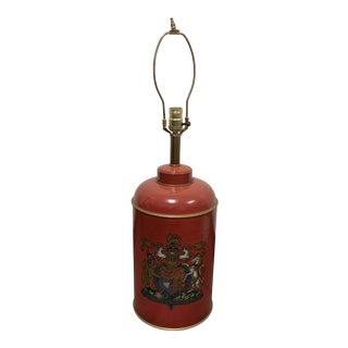 Vintage Dieu Et Mon Droit English Coat of Arms Table Lamp For Sale