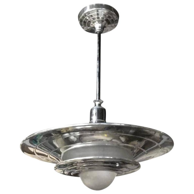 French Mid-Century Modernist Ceiling Light or Chandelier - Image 1 of 4