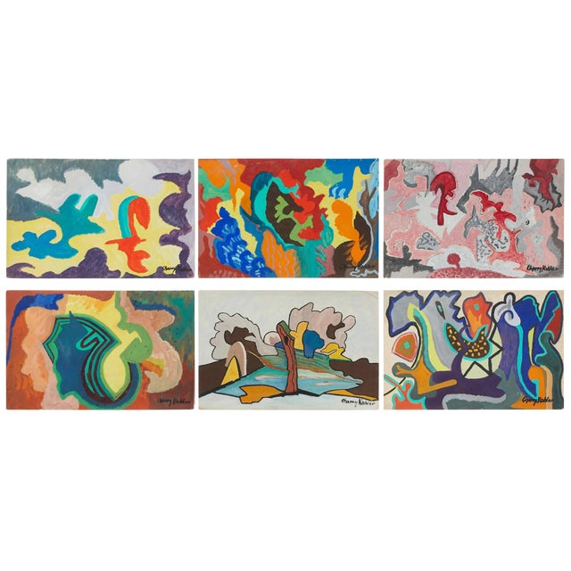 Set of Six Mid-Century Modern Abstract Watercolor Paintings From France For Sale