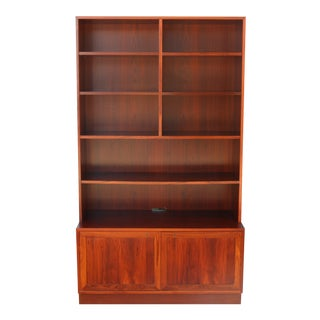 Danish Rosewood Tall 2 Piece Bookcase For Sale