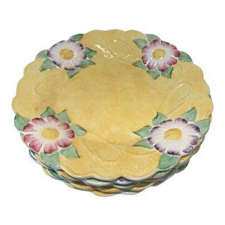Antique 1920's James Kent Ltd Art Nouveau Majolica Yellow Flower Plates - Set of 5 For Sale