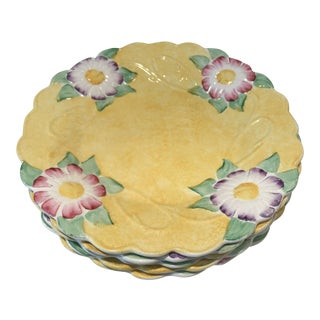Antique James Kent Ltd Art Nouveau Majolica Yellow Flower Plates - Set of 5 For Sale